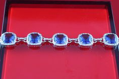 Bridal bracelet- bracelet with stones, blue CZ bracelet, white gold plated