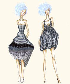 Fashion Drawing and Illustration by Marina Vasilevsky, via Behance