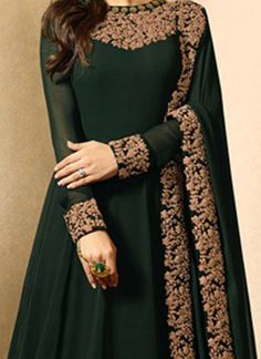 Buy Drashti Dhami Dark Green Abaya Style Anarkali Suit online, SKU Code: This Green color Party anarkali suit for Women comes with Embroidered Faux Georgette. Shadi Dresses, Pakistani Formal Dresses, Indian Gowns Dresses, Indian Fashion Dresses, Indian Designer Outfits, Indian Outfits, Indian Clothes, Fancy Wedding Dresses, Fancy Gowns