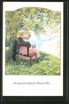 carte postale ancienne: CPA Illustrateur Pauli Ebner: Im wunderschönen Monat Mai, junges Liebespaar unter einem Baum