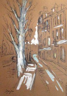 Купить Графика, город, бумага, тушь, формат А3 - коричневый, город, пейзаж, улица