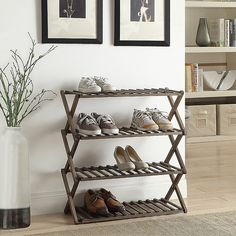 Lifestyle Home's Shoe Rack provides convenient, organized storage for up to 12 pairs of shoes. Crafted of solid wood and folds flat for easy storage when not in use. Attractively designed to pair well with any home décor. Shoe Rack For Small Spaces, Small Shoe Rack, Best Shoe Rack, Metal Shoe Rack, Diy Shoe Rack, Shoe Racks, Shoe Rack Ideas For Garage, Shoe Storage Ideas For Small Spaces, Folding Shoe Rack