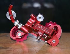 Paul Components Powerglide rear dérailleur in red.