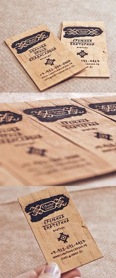 Unique and eco friendly business card made out of birch bark!  Nice Russian typography too... #green #design #inspiration