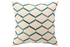 One Kings Lane - Great Graphics - Ribbon Work 20x20 Linen Pillow, Sea Blue