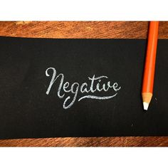 Negative - Handmade lettering for 365Mistakes project - Antonin Boiveau - White pencil on black paper