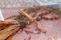 31 Bohemian knotted Necklace Sari Silk Tassel czech by gleegallery