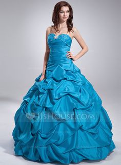 [US$ 168.99] Ball-Gown Sweetheart Floor-Length Taffeta Quinceanera Dress With Ruffle Beading
