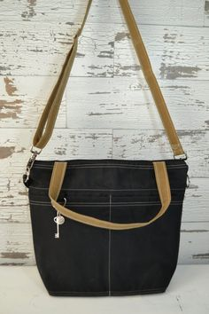 Digital Camera bag Black and Tumbleweed waxed canvas - faux leather, lightweight, vegan by Darby Mack Made in the USA, waterproof, in stock