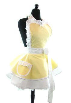 Dots Diner Apron Lemon Chiffon Tiffany Style Sexy by bambinoamore #tiffany co #Jewelry