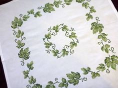 white Vintage embroidered tablecloth with green grape by Retroom