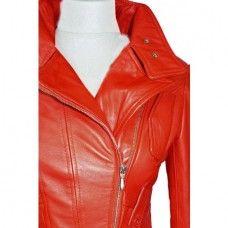 Women's Red Biker Leather Jacket