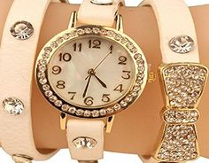 AccessoryStation Fashion Watch Around Shinning Leather Bracelet Diamond Bowknot Crystal Leather chain Womens Lady Gir 100% Brand New and the highest quality!This watch is in fashion and special design. It is with sparkling rhinestone decorations which mak