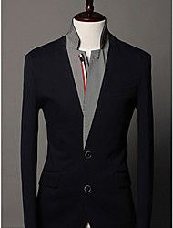 Men's stand collar knit decorated contrast color suit – USD $ 43.44