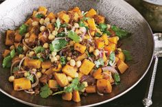 This pumpkin and chickpea salad recipe is vegan friendly.