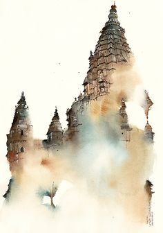 Chaturbhuj Temple , Orchha / w24 x h34.5 cm watercolor and pen on paper