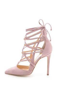 Blush Lace Up Pumps / Alejandro Ingelmo