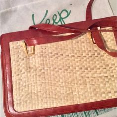 Vintage Lou Taylor Wicker Handbag W/Mirror Hemp Weave front with cherry/cognac colored trim. Inside zipper n snap closure.   Gold-tone hardware with built-in mirror. Pouch below mirror which it can be stored in.  Near mint condition. So unique!! *There is a flaw in the weave on one side Bags
