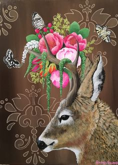 """""""Young Buck"""" Acrylic on Canvas inches Heather Gauthier - Anthropomorphic Realism, Original Paintings Cute Animal Drawings, Bird Drawings, Flower Collage, Painting Gallery, Sketchbook Inspiration, Animal Party, Whimsical Art, Surreal Art, Animal Paintings"""