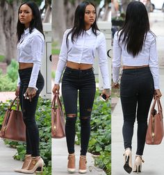 Karrueche Tran Flashes Toned Tum in Crop Collared Shirt and Tom Ford Heels, Talks About Future with Ex Chris Brown