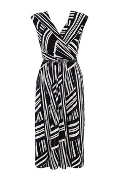 Monochrome Geometric Print Wrap Dress