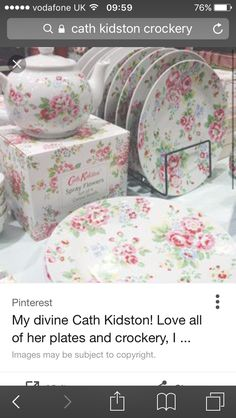 Cath kidstonset of 4 provence rose cereal bowls20 862 89 for Cath kidston kitchen ideas