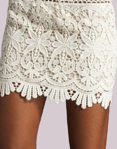 Sydney Lace Mini Skirt - Ivory $69 -- We love this skirt so much that we brought it all the way from Australia just for you! You won't find it anywhere else in the United States. Pair it with a menswear-inspired shirt or an over-sized tee. Cotton-lined crocheted lace mini skirt has an elastic waist band.   ♥ 65% Cotton, 35% Polyester.  ♥ Wash separately.     Also available in Black, Pink or Rust.
