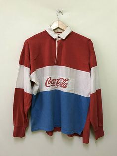 a508b818524 Vintage Coke Coca Cola Rugby colourblock 80s 90s promo long sleeve t-shirts