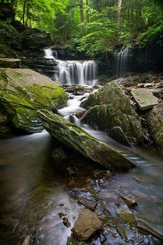 Angled Rock -- Ricketts Glen State Park, Pennsylvania Beautiful Waterfalls, Beautiful Landscapes, Beautiful World, Beautiful Places, Landscape Photography, Nature Photography, Travel Images, Natural Wonders, Day Trips