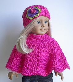 American Girl Doll Clothes Crocheted Poncho Set in by Lavenderlore