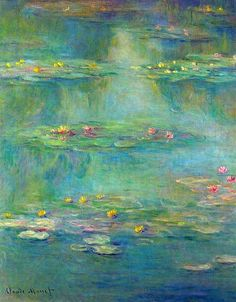 'Nymphèas at Giverny' by Claude Monet painted in The artist's signature and date are visible in the lower left of the painting. My favorite painting. Monet Paintings, Landscape Paintings, Abstract Paintings, Painting Art, Contemporary Paintings, Renoir, Artist Monet, Monet Water Lilies, Water Lilies Painting
