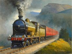 """""""Finally The North British Railway and this Philip D Hawkins painting of Glen Class Glen Douglas. Train Posters, Railway Posters, Steam Railway, Train Art, Train Pictures, Old Trains, Train Engines, Art Uk, Steam Locomotive"""