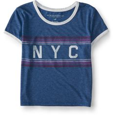Aeropostale NYC Ringer Crop Baby Tee (180 EGP) ❤ liked on Polyvore featuring mosaic blue and aéropostale