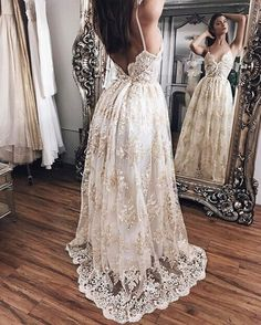 Dress: bridal dresses, lace dress, gold, white