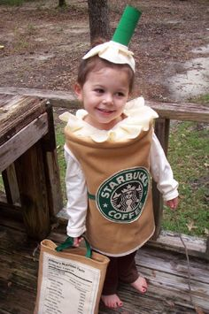 Haha....wish I'd thought of this when the kids were younger.  Love the nutritional label on the candy bag.  Too funny!  DIY Starbucks halloween costume... so cute! (via ReallyAwesomeCostumes.com)