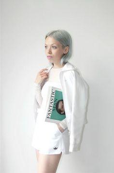 Vintage sportswear inspired monochromatic white