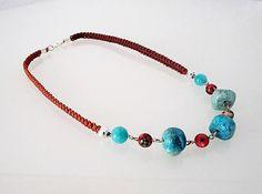 Handmade beaded necklace turqoise gemstones aquamarine agate