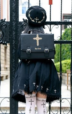 Preorder: LovelyLota 【-Rose Cross-】 Messenger Bag - Another! Punk Fashion, Lolita Fashion, Gothic Fashion, Mode Lolita, Maid Cosplay, Gothic Outfits, Alternative Outfits, Lolita Dress, Visual Kei