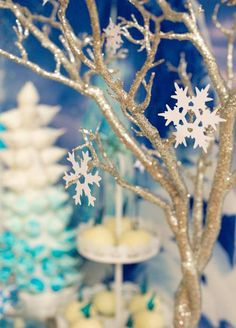 Tree Branches Adorned with Snowflakes from a Frozen Birthday Party via Kara's…