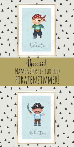 Here you get a personal pirate picture for DIY – Print for your pirate room! You can find more at Papiertraumallee! rnrnSource by papiertraumallee Pirate Pictures, Baby Kind, Door Signs, Wall Design, Pirates, Presents, Nursery, Names, Room