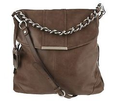 B. Makowsky Vintage Leather Convertible Flap Hobo w/Chain