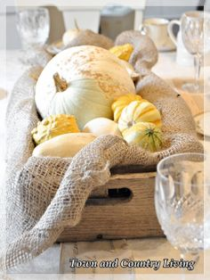 Fall Centerpiece: Landscape burlap lines an old drawer with gourds and a white pumpkin tucked inside.
