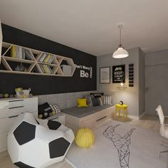 Pokój dla juniora by living box is part of Teenage room - Find home projects from professionals for ideas & inspiration Pokój dla juniora by living box homify Soccer Bedroom, Boys Bedroom Decor, Girls Bedroom, Bedroom Ideas, Soccer Themed Bedrooms, Football Bedroom, Boys Bedroom Furniture, Children Furniture, Decoration Bedroom