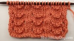 Isn't this a pretty stitch?  It's called the little shell stitch.  Row 1: Knit all sts.  Row 2: Purl all sts.  Row 3: K2, *yo, p1, p3tog, p1, yo, k2; rep from * to end  Row 4: Purl all sts.