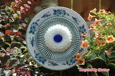 Blue and White Garden Flower / Garden Yard by RecycledBySkattur, $29.00
