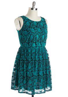 Floral Flashback Dress in Turquoise - Plus Size   Mod Retro Vintage Dresses   ModCloth.com