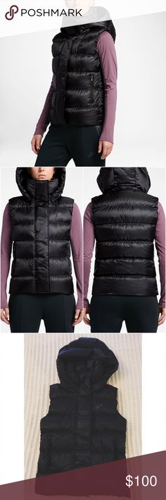Nike Hooded Down Vest •The Nike Sportswear Women's Hooded Down Vest. Down insulation helps keep you warm without the weight. Removable oversized hood for customized warmth. Raised neckline for enhanced coverage. Side zip pockets for storage.  •Size XS, will fit an XS or S.  •New with tag.  •NO TRADES/HOLDS/PAYPAL/MERC/VINTED/NONSENSE. Nike Jackets & Coats Puffers