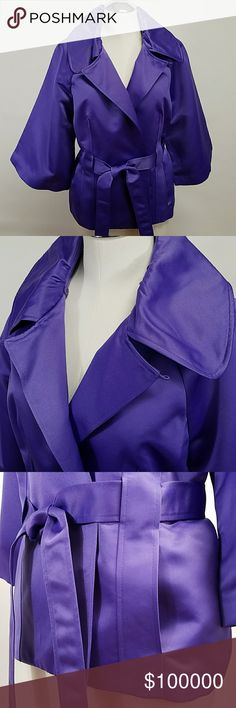 NWOT Victor Costa Occasion belted jacket M Purple satin belted jacket, puckered collar, can be worn open as v-neck, or buttoned at neck to cover chest. Extra waist snap included. 2 hand pockets, wide 3/4 sleeves add even more style! Excellent condition! Victor Costa Jackets & Coats