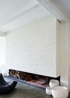 Painted Recycled Brick Fireplace