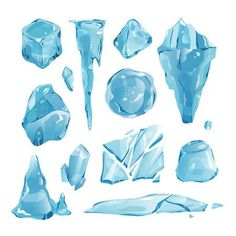 Illustration of Realistic ice caps snowdrifts and icicles broken piece bit lump cold frozen block crystal winter decor vector illustration vector art, clipart and stock vectors. Vector Art, Art Clipart, Vector Illustrations, Vector Graphics, Vector Design, Design Design, Ice Drawing, Crystal Illustration, Crystal Drawing